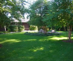 Well-maintained garden landscape surrounded with healthy plants and trees.